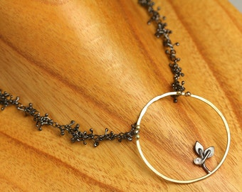 Seedling in a Circle,  18k Gold and Blackened Sterling Sprout Chain