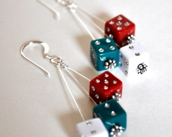 Dangling Dice Earrings - Red Green and White - Geeky Gamer Jewelry