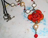 Red Rose Tin Necklace Pearls Crystals Repurposed Upcycled one of a kind Rustic Tin
