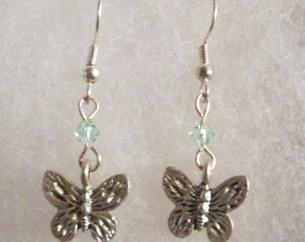 Butterfly Earrings with Swarovski Crystals