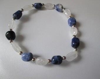 Moonstone and Sodalite Nugget Bracelet