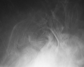 Smoke 3 : Photographic Print in textured, grainy, high contrast, black and white, depicting the dancing, flowing nature of smoke.