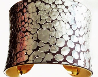 Metallic Silver Dragon Scale Print Leather Gold Lined Cuff - by UNEARTHED