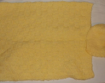 Knitted Baby Blanket with Matching Hat  #5074