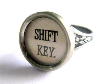 Typewriter  Key Shift key finger ring adjustable Ring vintage