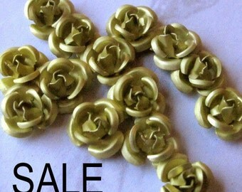 LOW Stock - Vintage Anodized Aluminum Olive Green Rose Charms/Beads (12X) (10mm) (V425) HALF Off S A L E