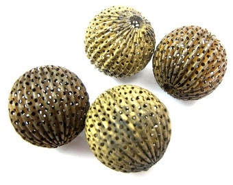 Huge Vintage Antoqued Brass Plated Filigree Ball Bead Pendants (4X) (V192)
