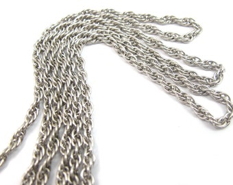 Vintage Rhodium Plated on Steel Rope Chain (6 feet) (CP211)