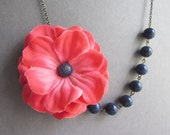 Statement Necklace,Coral Flower Necklace,Floral Necklace,Coral Necklace,Navy Blue Necklace,Coral Jewelry,Wedding Necklace,Bridesmaid Gift