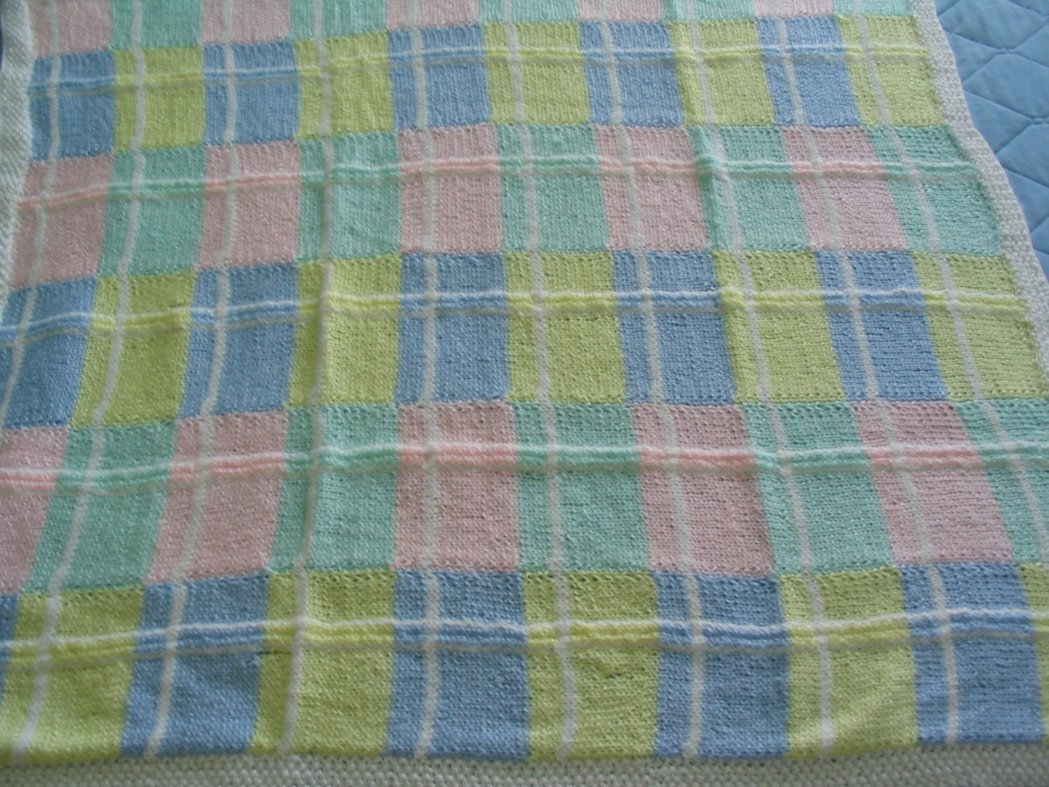 Hand Knit Plaid Baby Blanket by saraspence on Etsy