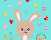 Jam Clothing Co.  Custom BASIC Upcycle Dress -- Easter Bunny aqua dress