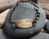 custom one (powerful) word bracelet . oval