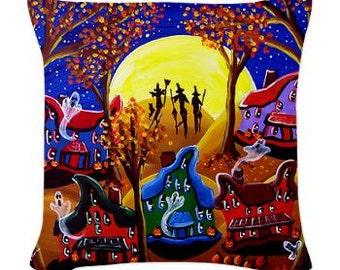 Fall Halloween Night Spooky Fun Folk Art Pillow - Woven Throw Pillow Whimsical Art by Renie Britenbucher