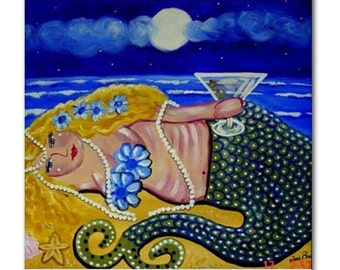 Martini Mermaid Beach Moon Fun Whimsical Folk Art Ceramic Tile