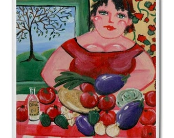 Italian Cook Dinner Tomatoes Eggplant Garlic  Whimsical Folk Art Ceramic Tile