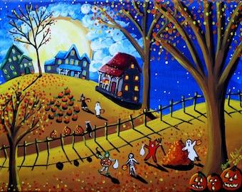 Golden Halloween Kids Trick Treat Fun Whimsical Folk Art Giclee Print