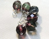 Flourite Glass Beaded Charm Dangles, Purple & Green, Wire Wrapped 6pc Set, Jewelry Components, Earring Findings
