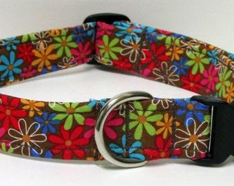 Colorful Diasies on Chocolate Brown Handmade Dog Collar