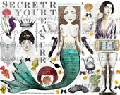 ART TEA LIFE Mermaid Collage Sheet Journal Page Scrapbooking clip art Digital File fish flapper paper doll card gift tag altered art parts