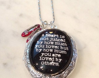 Wizard of Oz Quote Locket Necklace. Quote Necklace.A Heart is Not Judged by How Much You Love