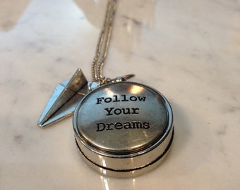 Compass Necklace Follow Your Dreams Customizable Charm