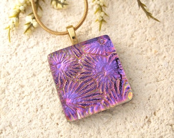 Petite Golden Pink Necklace, Dichroic Jewelry, Golden Pink Pendant, Fused Glass Jewelry, Fused Glass Necklace, Gold Necklace 090414p118