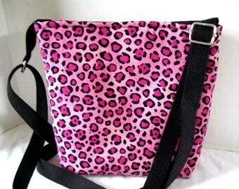Cheetah Cross Body Purse - Pink Over the Shoulder Bag - Adjustable Long Strap - Animal Print Hip Bag - Pink Cheetah Hipster