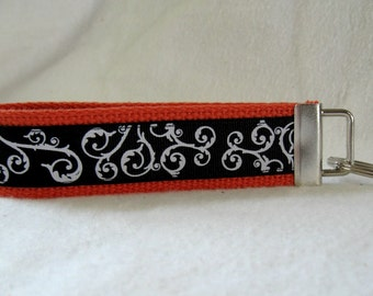 Scrolls Key Fob ORANGE Black Swirls Key Chain