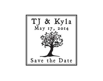lovebirds in tree save the date whimsical tree custom rubber stamp wedding stamp love birds