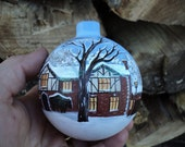 Custom hand painted Christmas ornament painted with your own home personalized for free