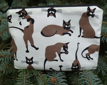 Siamese Cats zippered bag, makeup case, zippered pouch, accessory bag, The Scooter