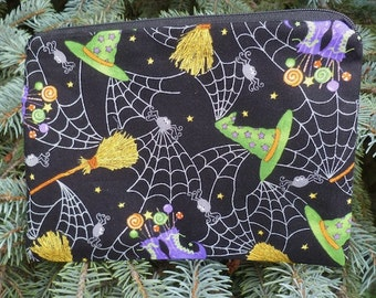 Witch zippered bag, makeup case, zippered pouch, accessory bag, MoonLight Manor, The Scooter