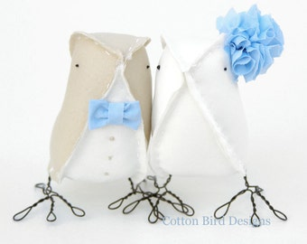 Powder Blue Wedding Cake Topper Birds Love Birds Pale Sand Soft Blue
