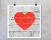 Red heart stencil graffiti art: white wall romantic love urban street art - square photo photograph big print poster 22x22 15x15 12x12 18x18
