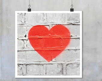 Red heart stencil graffiti art: white wall romantic love urban street art - square photo photograph big print poster 22x22 15x15 12x12 18x18