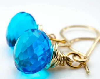 Faceted Aqua Blue Quartz 14k Gold Fill Gloriana Earrings