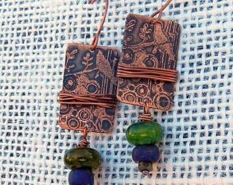 Blue Green, Etched Copper Bird on Branch Lampwork Bead, Earrings Gift Handmade Copper Jewelry Gypsy Boho SRA Artisan jewelry