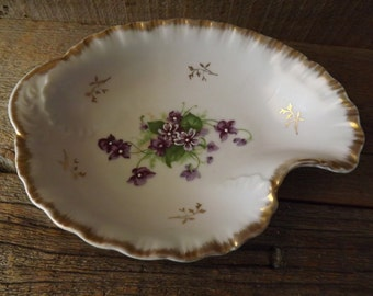 Lefton Candy Dish, Hand Painted Dish, Handpainted Violets, Nut Dish, Candy Dish