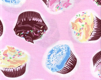 Chocolate Cupcakes on Pink Fabric - REMNANT Size 26 Inches by 44 Inches