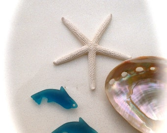Dolphin Sea Glass Beads-2 pcs 34 x 14 mm-Beads,supplies, Seaglass, Beach glass, Beach Jewelry, dolphin beads-beautiful TEAL  Jewelry, Ocean