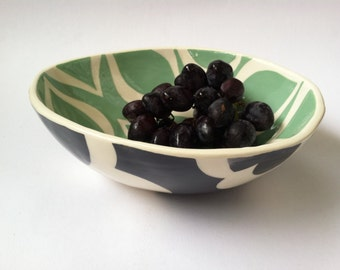 Handmade Ceramic serving bowl/ Mint with mod pattern