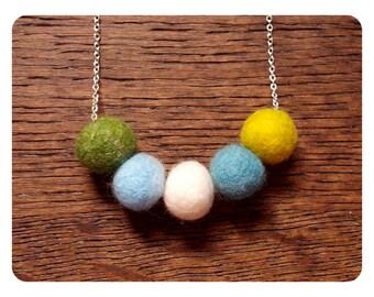 Handmade Felt Ball Necklace