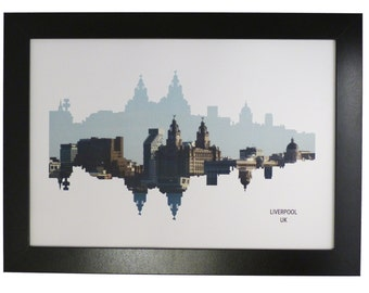 Liverpool Skyline Print with aerial city photo