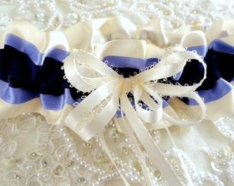 Purple Ivory & Lavender Satin Garter-Purple Wedding-Lavender Wedding-Bachelorette Party-Maid's Gift-1- Fits 14 - 20 inches