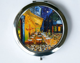 Cafe Terrace at Night Compact Mirror Pocket Mirror fine art painting van gogh