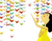 """Origami Cranes, Japanese, Girl's Room Art, Colorful Decor - """"Paper Wishes"""""""