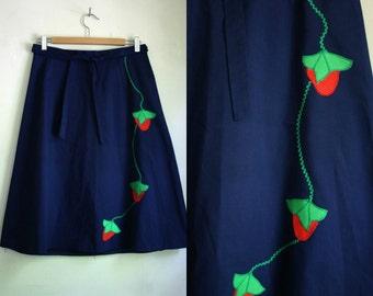 Vintage 70s Navy Blue Strawberry Wrap Skirt // medium
