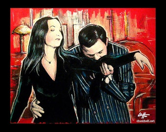 """Print 11x14"""" - Oh Tish I love it when you speak French - The Addams Family Morticia Gomez Wednesday Classic Dark Art Comedy TV Horror Gothic"""