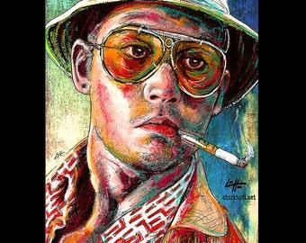 "Print 8x10"" - Fear and Loathing - Johnny Depp Pop Art Dr Gonzo Benicio Del Toro Las Vegas Hunter S Thompson Drugs Lowbrow LOL Spooky Surreal"