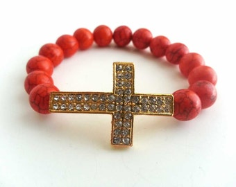 Orange Turquoise Side Cross Bracelet